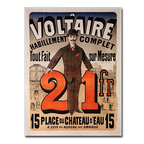 ''A Voltaire, 1877'' 18'' x 24'' Canvas Art by Jules Cheret