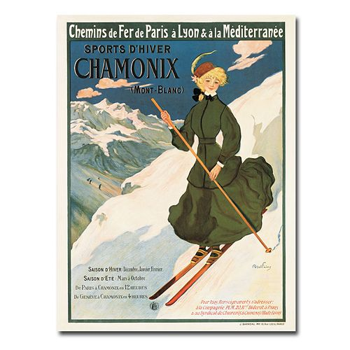 ''SNF Routes To Chamonix, 1910'' 35'' x 47'' Canvas Art