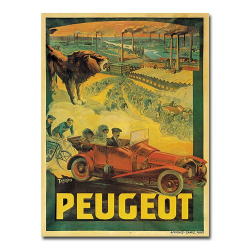 ''Peugeot Cars, 1908'' 35'' x 47'' Canvas Art by Francisco Tamagno