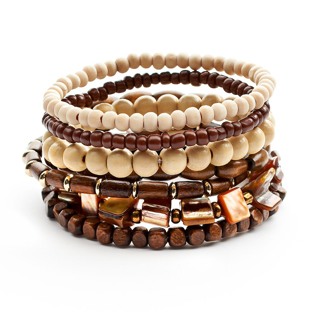 Mudd Two Tone Wood Bead Stretch Bracelet Set