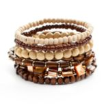 Mudd® Two Tone Wood Bead Stretch Bracelet Set