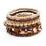 Mudd® Two Tone Wood Bead Stretch Bracelet Set