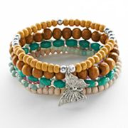 Mudd Silver Tone Wood Bead and Butterfly Charm Stretch Bracelet Set