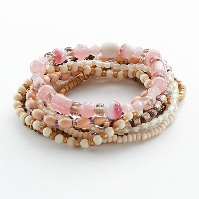 Mudd Two Tone Bead Stretch Bracelet Set