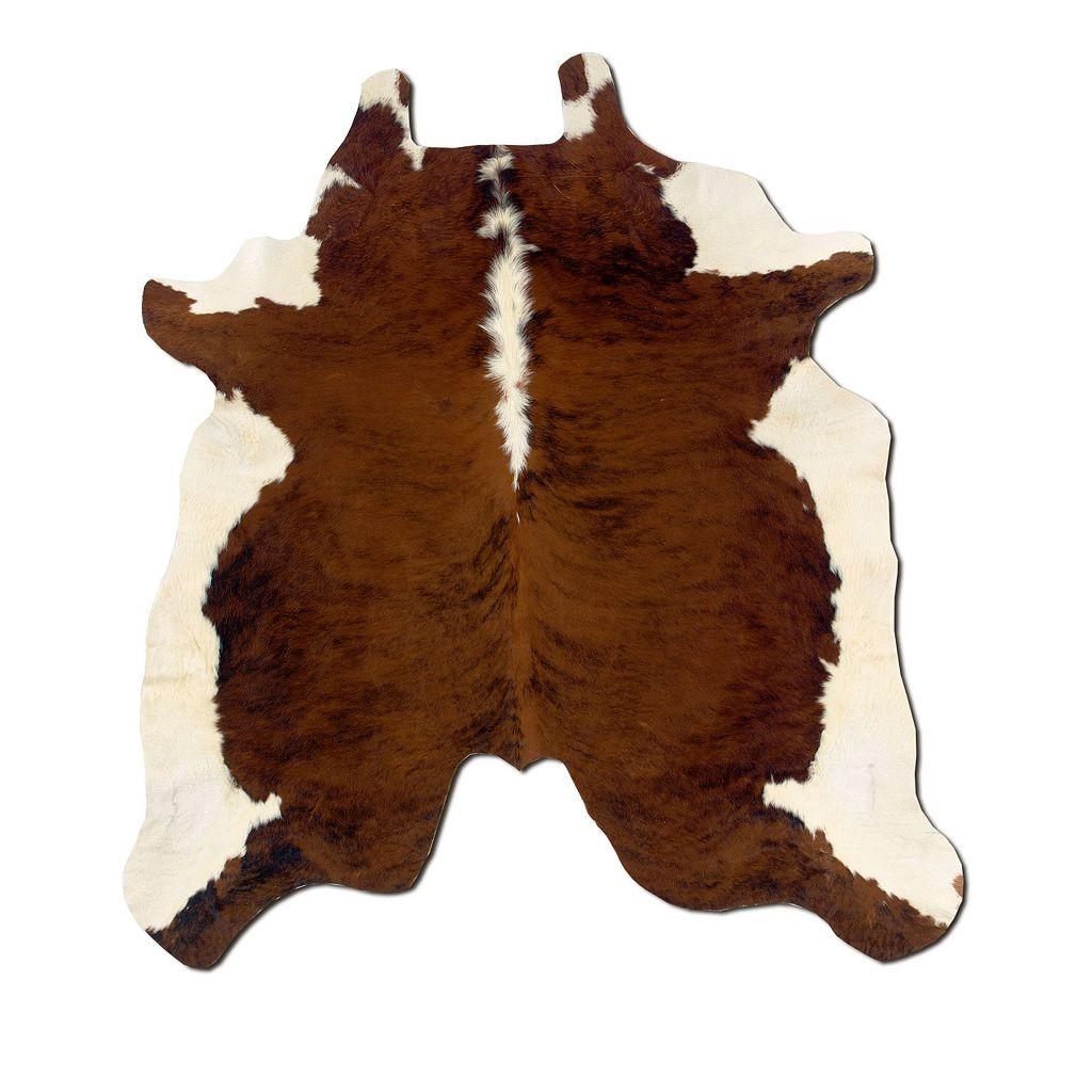 Linon Brown & White Full-Skin Cowhide Rug