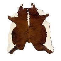 Linon Brown & White Full-Skin Cowhide Rug