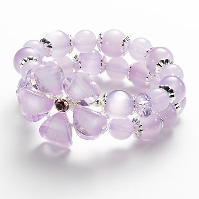 Croft and Barrow Bead and Simulated Crystal Flower Multistrand Stretch Bracelet