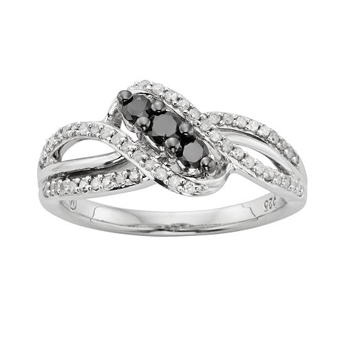 Sterling Silver 1/2-ct. T.W. Black & White Diamond Twist Ring