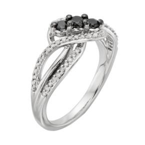 Sterling Silver 1/2-ct. T.W. Black and White Diamond Twist Ring