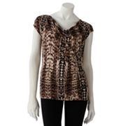 Dana Buchman Animal Ruched Drapeneck Top