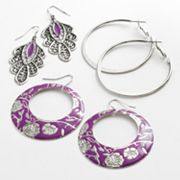 Mudd Silver Tone Hoop and Drop Earring Set