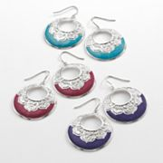 Mudd Silver Tone Hoop Drop Earring Set