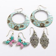 Mudd Gold Tone Flower, Butterfly and Filigree Drop Earring Set