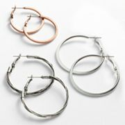 Mudd Two Tone Hoop Earring Set
