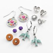 Mudd Silver Tone Simulated Crystal Button Stud and Drop Earring Set