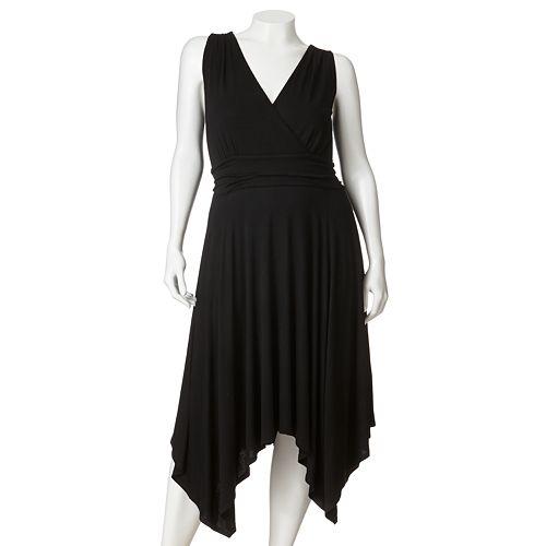 Plus Size ELLE™ Solid Empire Handkerchief-Hem Dress