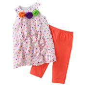 Sophie Rose Polka-Dot Ruffled Sundress and Leggings Set - Toddler