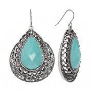 Trifari Silver Tone Textured Teardrop Earrings