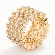 ELLE BIJOUX Gold Tone Simulated Crystal Stretch Ring