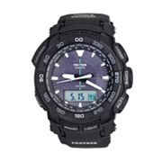 Casio Pro Trek Tough Solar Triple Sensor Black Resin Analog and Digital Chronograph Watch - PRG550-1A1CR - Men