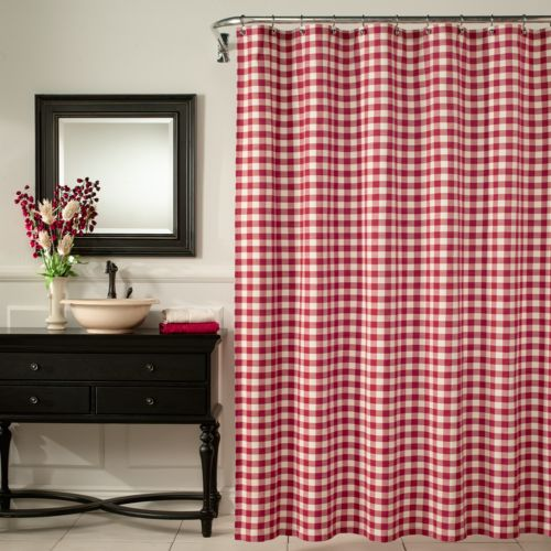 M. Style Checkered Fabric Shower Curtain