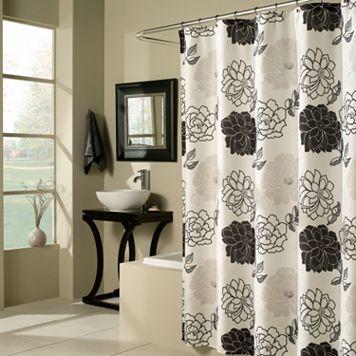 m.style Floral Summer Garden Fabric Shower Curtain