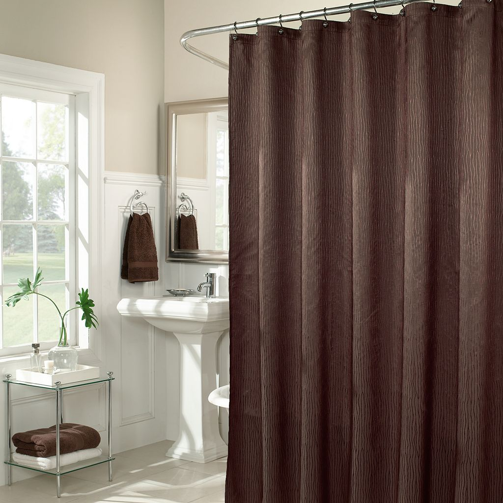 m.style Wavy Fabric Shower Curtain
