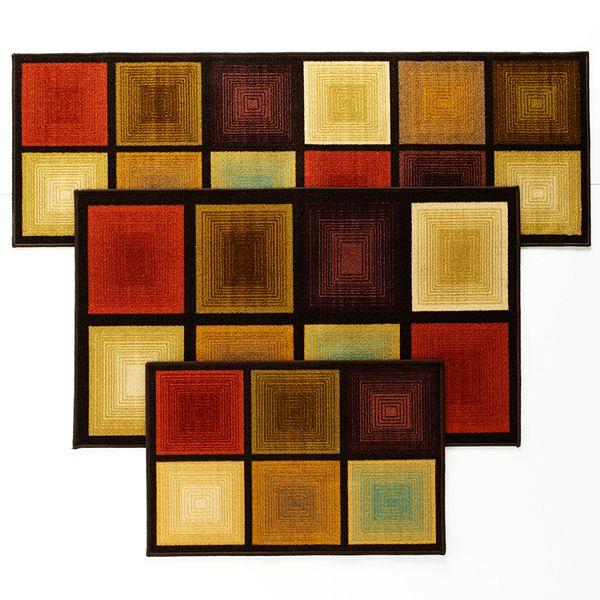 optic square 3 pc area rug set
