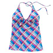 Candie's Plaid Halterkini Top