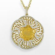 14k Gold 1-ct. T.W. Diamond and Citrine Flower Pendant