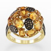 14k Gold 1/3-ct. T.W. Brown Diamond and Citrine Ring