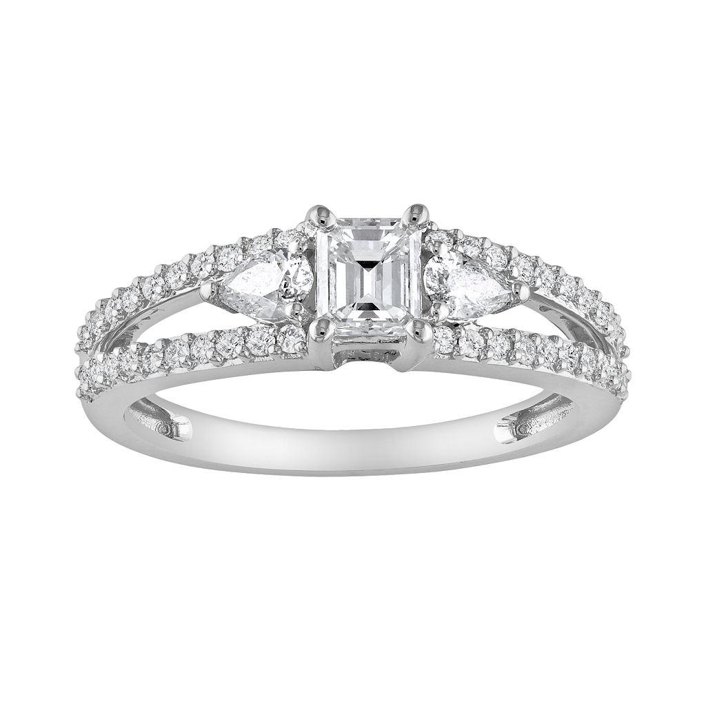 14k White Gold 1 Carat T.W. Diamond Engagement Ring