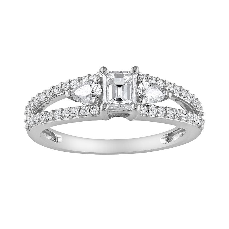 Princess-Cut Diamond Engagement Ring in 14k White Gold (1 ct. T.W.)