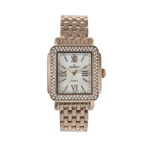 Peugeot Rose Gold Tone Crystal and Mother-of-Pearl Watch - Made with Swarovski Elements - 7080RG - Women