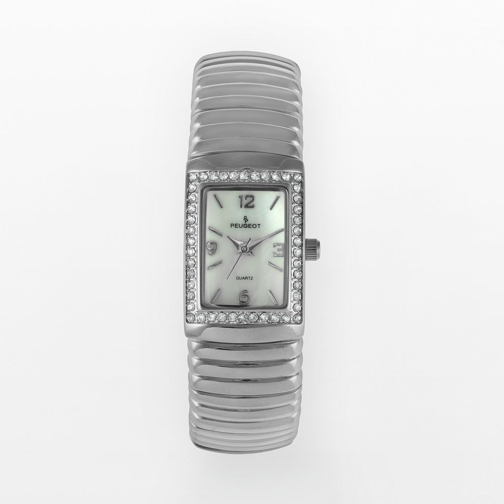 Peugeot Silver Tone Crystal & Mother-of-Pearl Expansion Watch - Made with Swarovski Crystals - 7081S - Women