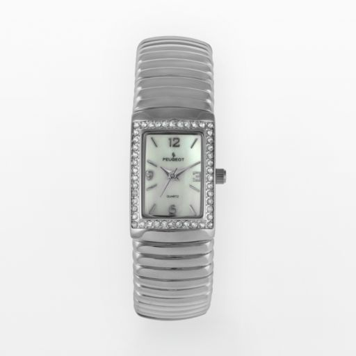 Peugeot Silver Tone Crystal and Mother-of-Pearl Expansion Watch - Made with Swarovski Crystals - 7081S - Women