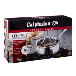 Calphalon Tri-Ply Stainless Steel 2.5-qt. Covered Shallow Saucepan