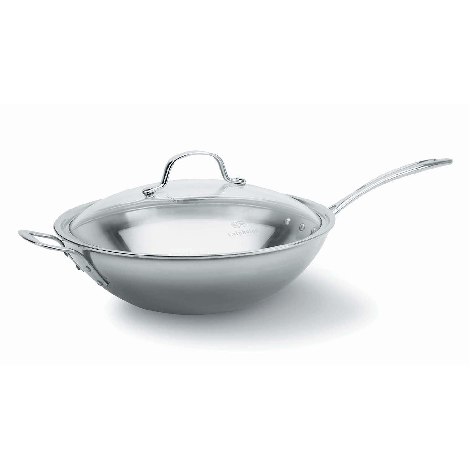 calphalon triply stainless steel 12in covered wok