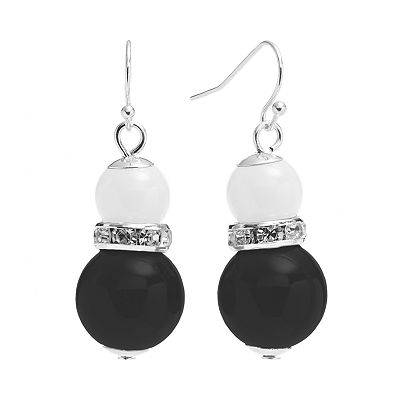 Croft and Barrow Silver Tone Simulated Crystal and Bead Drop Earrings
