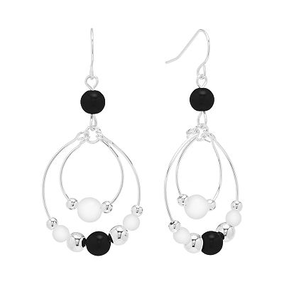Croft and Barrow Silver Tone Bead Hoop Drop Earrings