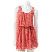 Crimson Coast Dot Ruffled Sheer Dress - Juniors