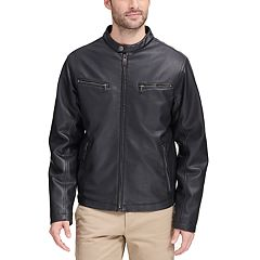 Dockers® Leather Motorcycle Racer Jacket - Men