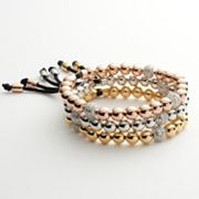 Silver Plated Tri-Tone Diamond Accent Bead Stretch Bracelet Set