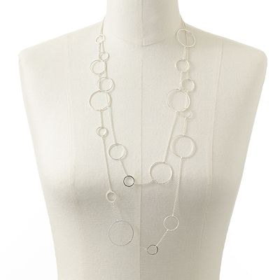 Candie's Silver Tone Circle Link Multistrand Long Necklace