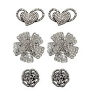 FlipOut 3-pk. Rhinestone Hearts, Rose and Impatiens Charm Set
