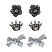 FlipOut 3-pk. Rhinestone Bloom, Crown and Bow Charm Set