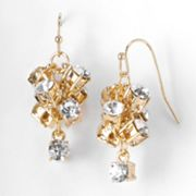 Simply Vera Vera Wang Gold Tone Simulated Crystal Cluster Drop Earrings