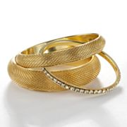 Simply Vera Vera Wang Gold Tone Simulated Crystal Mesh Bangle Bracelet Set