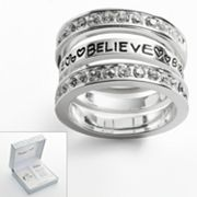 Silver Plate Crystal Believe Stack Ring Set