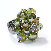 Simply Vera Vera Wang Jet Simulated Crystal and Bead Cluster Stretch Ring